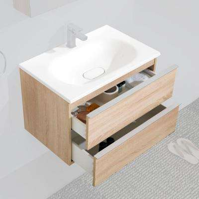 Turin 29.29 in. W x 19.69 in. H Bath Vanity with Vanity Top in White with Oak Basin