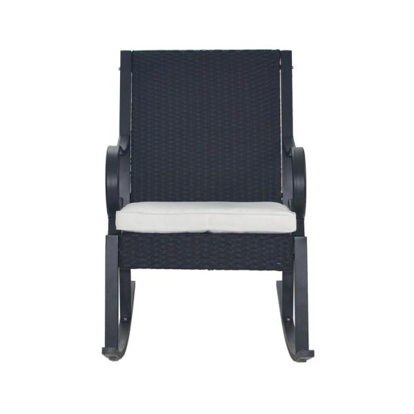 Harmony Black Wicker Outdoor Rocking Chair with White Cushion