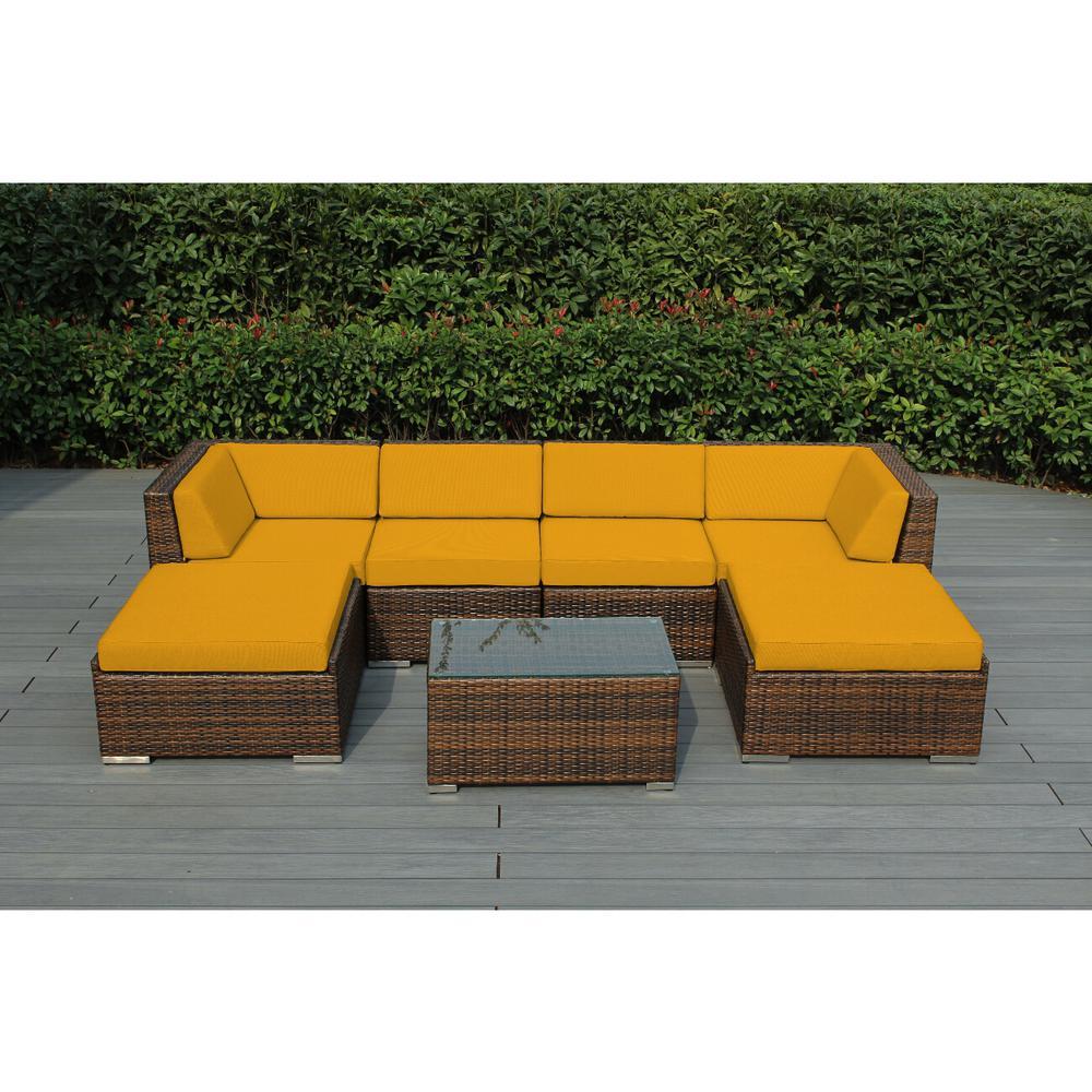 Ohana Mixed Brown 7-Piece Wicker Patio Seating Set with Sunbrella Sunflower Yellow Cushions