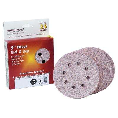 Premium Plus 5 in. 8-Hole 600-Grit Stearated Aluminum Oxide Hook And Loop Sanding Discs (25 per Box)