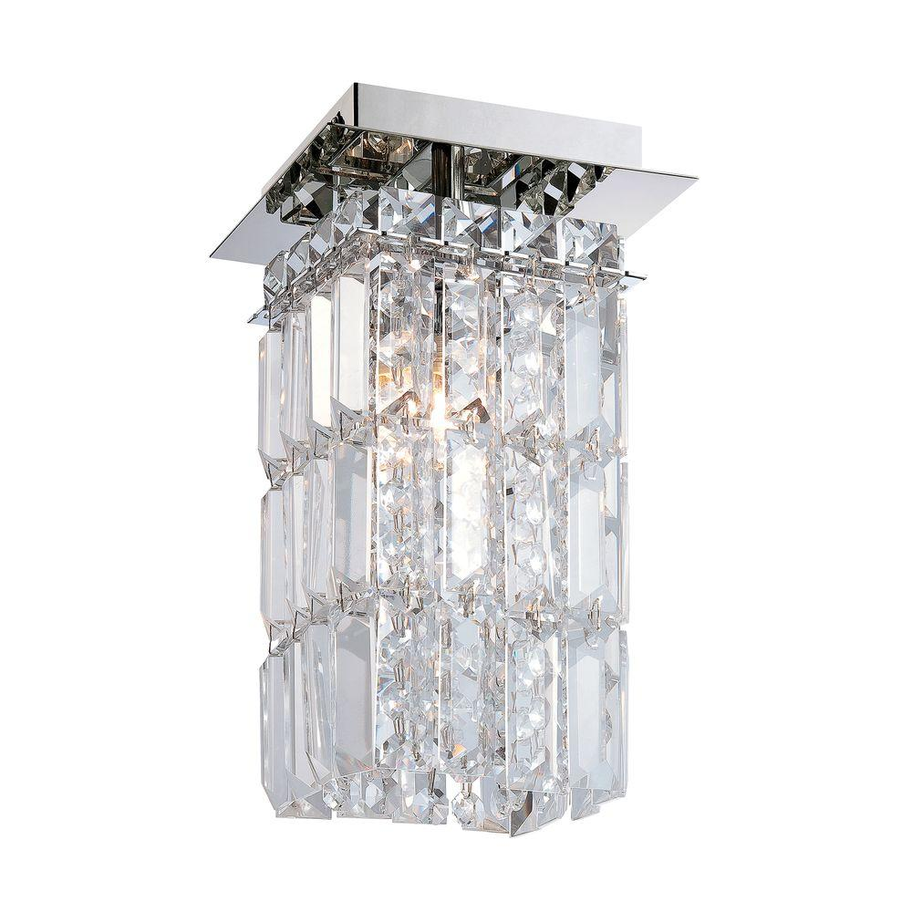 King 1-Light Chrome Flushmount with Clear Crystal Glass