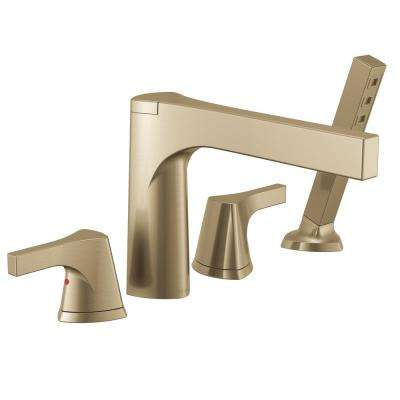 Zura 2-Handle Deck-Mount Roman Tub Faucet Trim Kit with Hand Shower in Champagne Bronze (Valve Not Included)