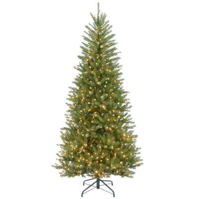 7-1/2 ft. Dunhill Slim Fir Hinged Artificial Christmas Tree with 600 Clear Lights