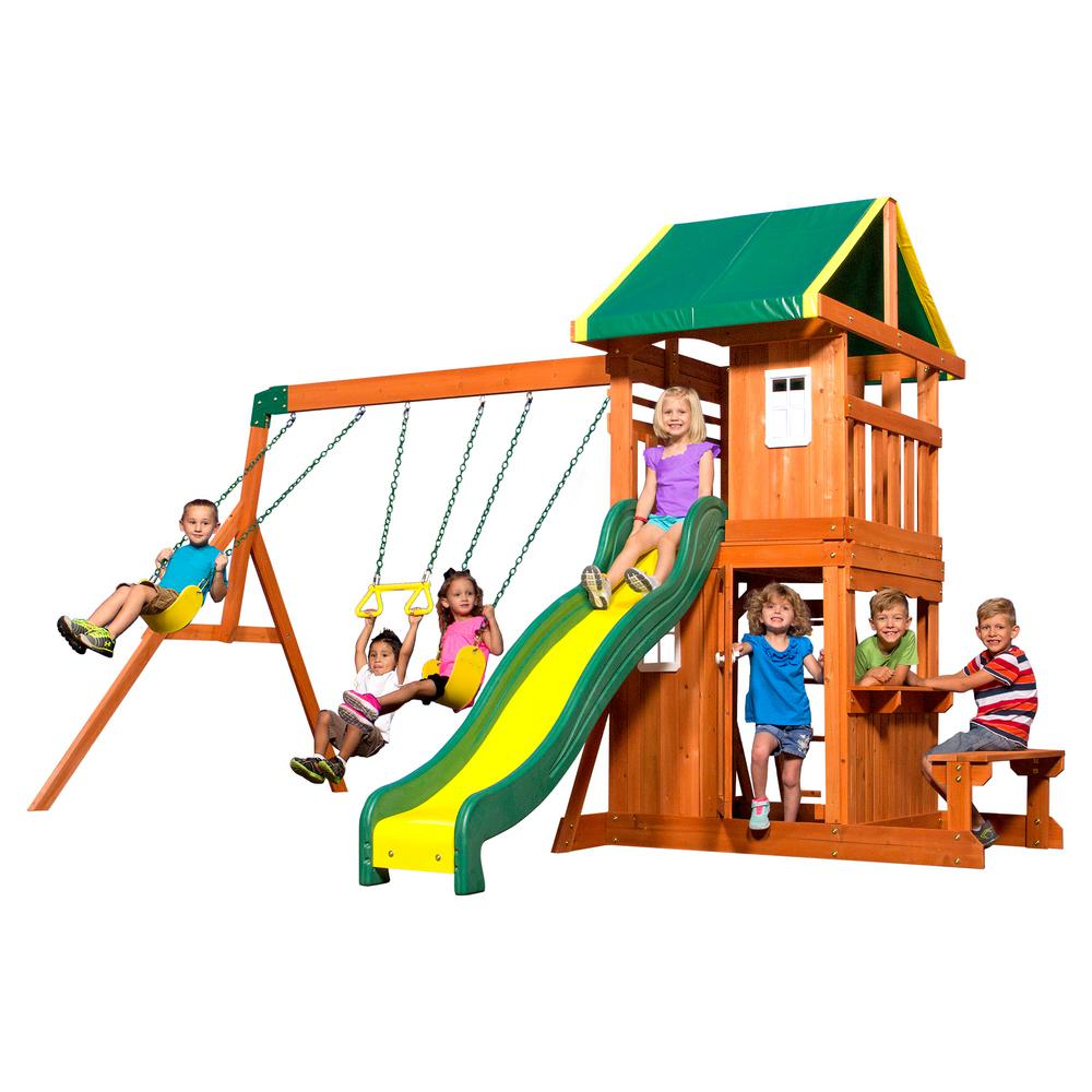 Backyard Discovery Oakmont All Cedar Playset 65114com The Home Depot