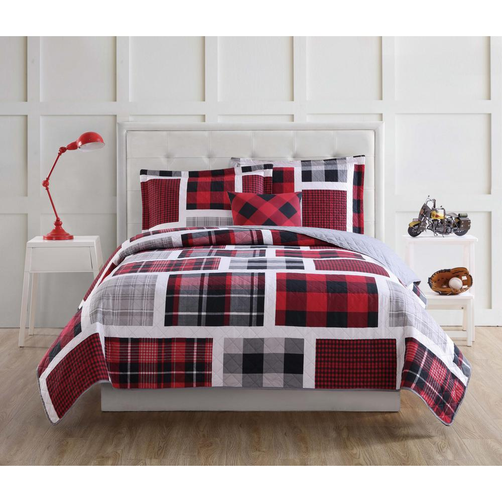 Buffalo Plaid 4-Piece Red and Black Queen Quilt Set