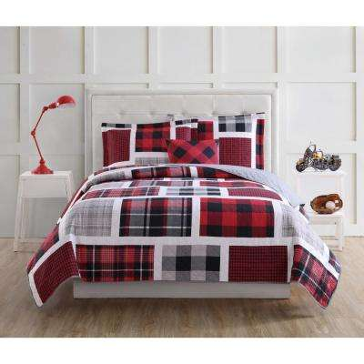 Buffalo Plaid 4-Piece Red and Black Full Quilt Set