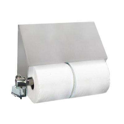 Stainless Solutions Double Post Slant Top Toilet Paper Holder in Steel with Angled Cover