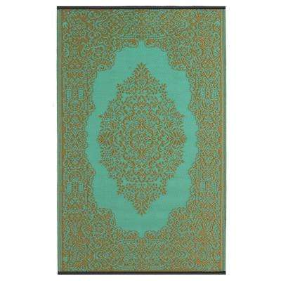 Istanbul - Indoor/ Outdoor Fair Aqua and Bronze (6 ft. x 9 ft. ) - Area Rug