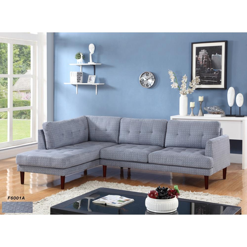 Gray Flint Linen Sectional Sofa Set 2 Piece