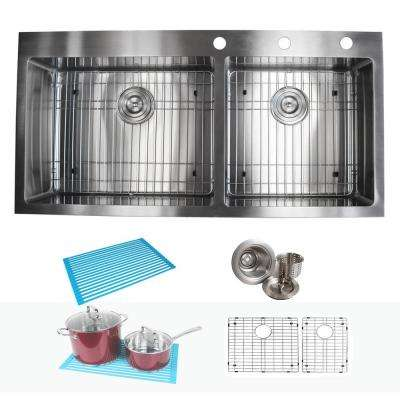 Drop-in Top Mount 16-Gauge Stainless Steel 42-7/8 in x 21-1/2 in x 10 in 60/40 Offset Double Bowl Kitchen Sink Combo
