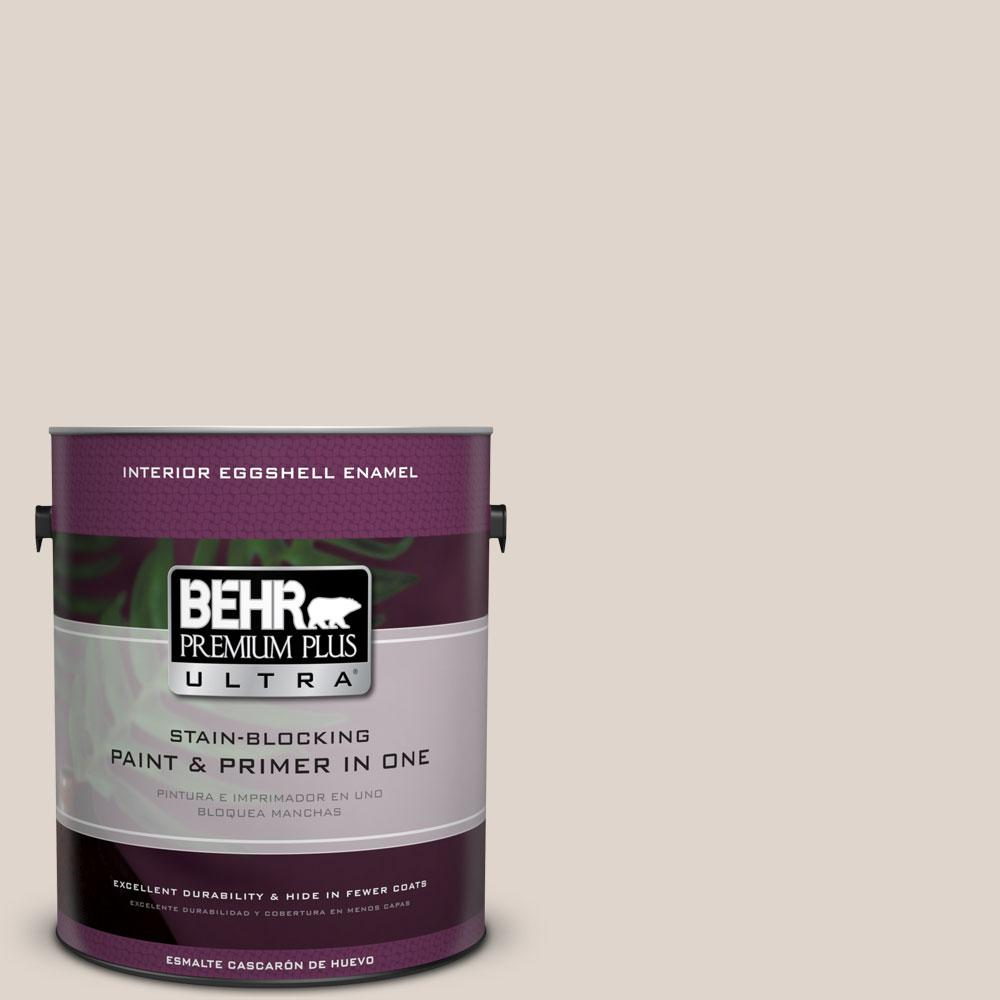 BEHR Premium Plus Ultra 1 gal. #N230-1 Castle Beige Eggshell Enamel Interior Paint and Primer in One