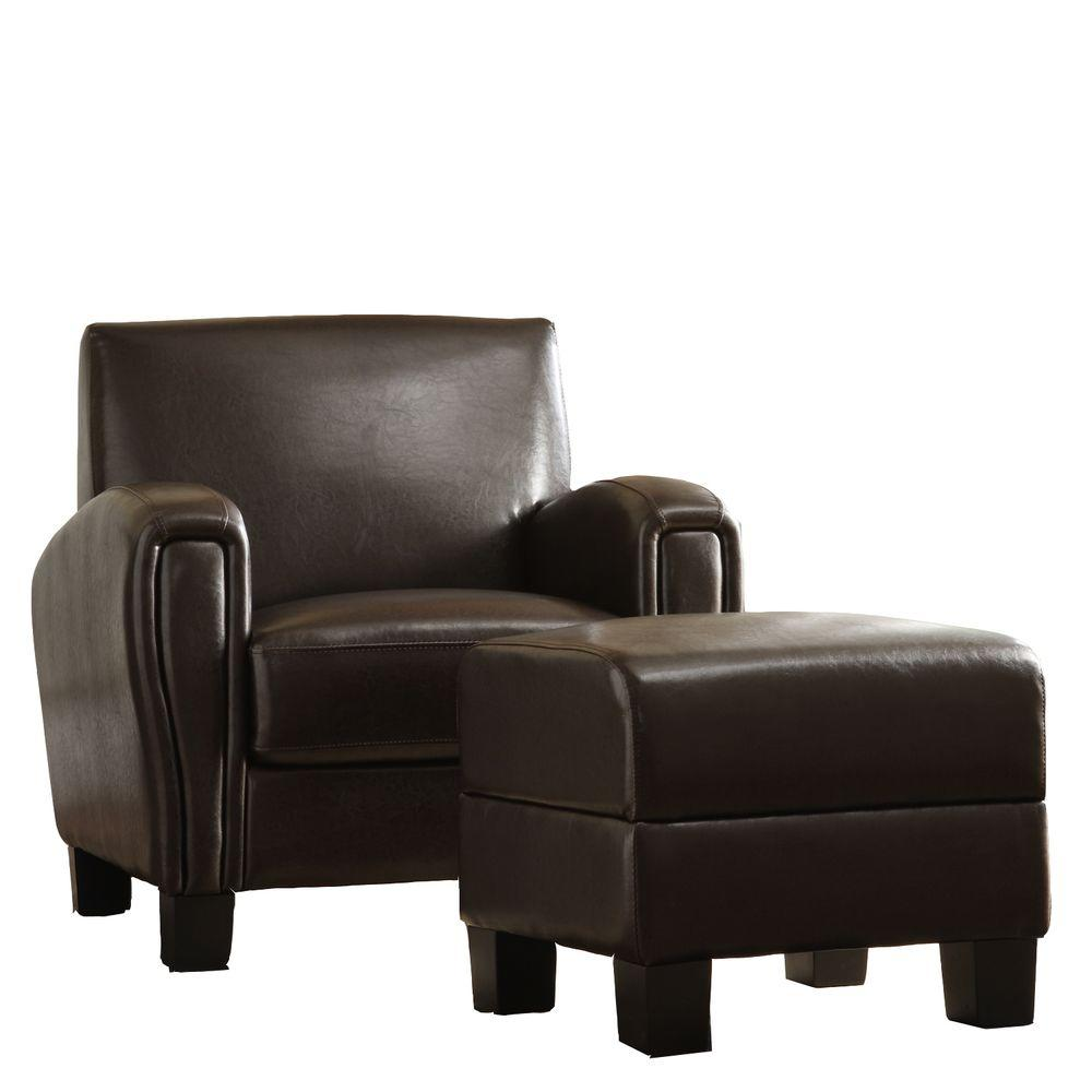 Home Decorators Collection Dark Brown Faux Leather Chair and Ottoman Set-DISCONTINUED