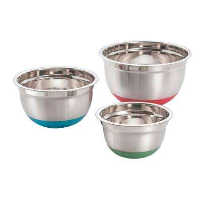 3-Piece Stainless Steel Mixing Bowls with Silicone Non-Skid Base Set