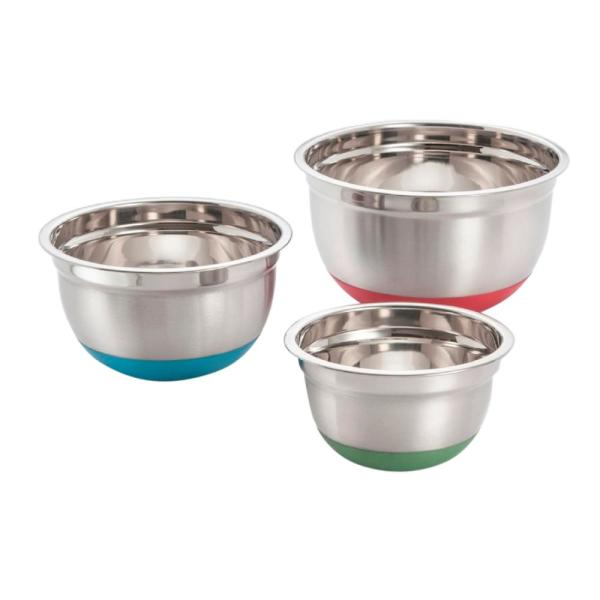 ExcelSteel 3-Piece Stainless Steel Mixing Bowls with Silicone Non-Skid Base Set