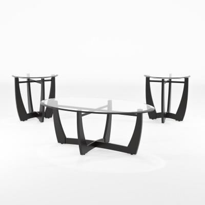 Arthur 3-Piece 30 in. Black/Clear Medium Oval Glass Coffee Table Set