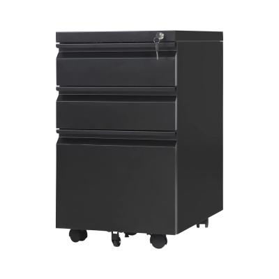 Black 3-Drawers Mobile File Cabinet Fully Assembled Except Wheels