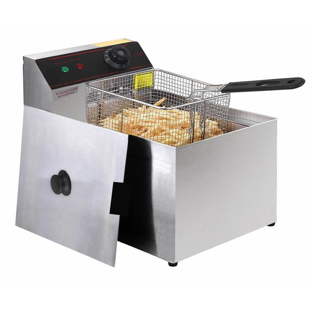 Deep Fryer Electric Commercial Tabletop, Silver Our electric fryer is ideal for both commercial uses and home uses.It has features of fashionable design,reasonable construction,convenient operation,fast speed in temperature raising etc.Do not hesitant to buy it now! Color: Silver.
