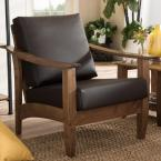 Pierce Dark Brown Faux Leather Upholstered Accent Chair