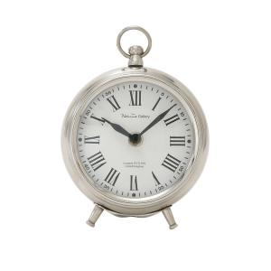 Silver Stainless Steel Contemporary Analog Tabletop Clock