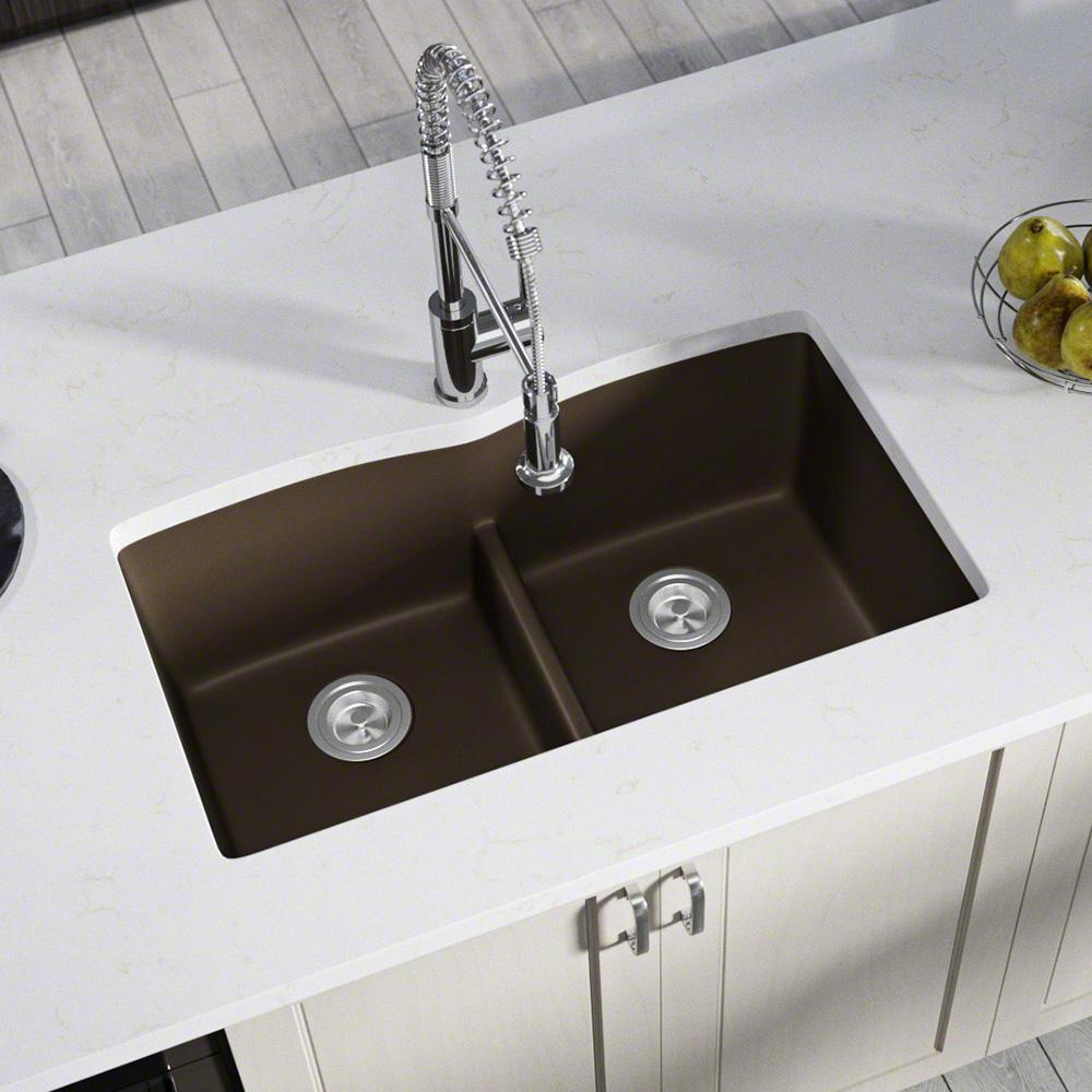 MR Direct All-in-One Undermount Kitchen Sink Composite Granite 33 in.  Low-Divide Equal Double Basin in Mocha