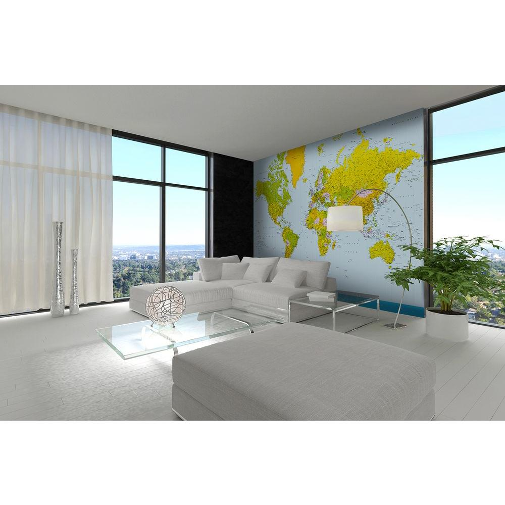 144 in. H x 100 in. W Map of the World Wall Mural
