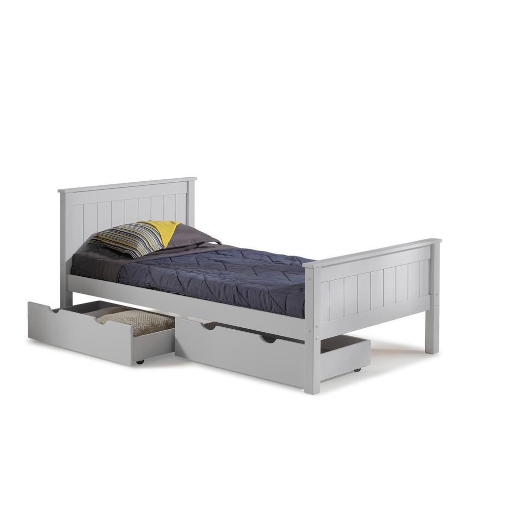 Gray Twin Bed Storage Drawers Harmony