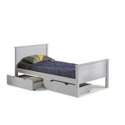 Harmony Dove Gray Twin Bed with Storage Drawers