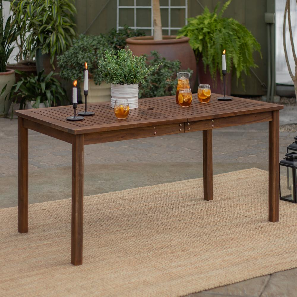 Dark Brown Rectangle Acacia Wood Outdoor Dining Table Hdwsdtdb The Home Depot