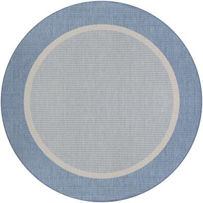Recife Stria Texture Champagne-Blue 8 ft. x 8 ft. Round Indoor/Outdoor Area Rug