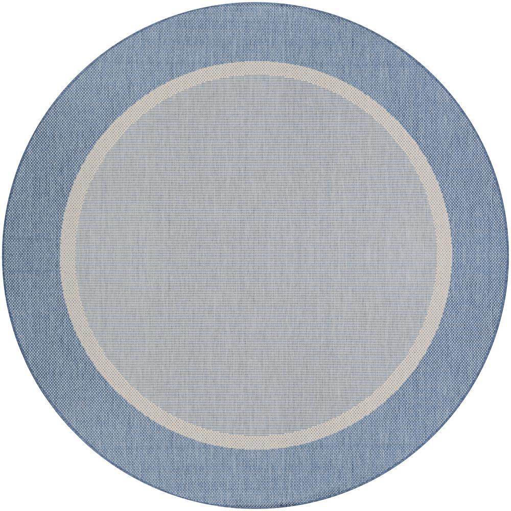 Recife Stria Texture Champagne Blue 9 Ft X Round Indoor
