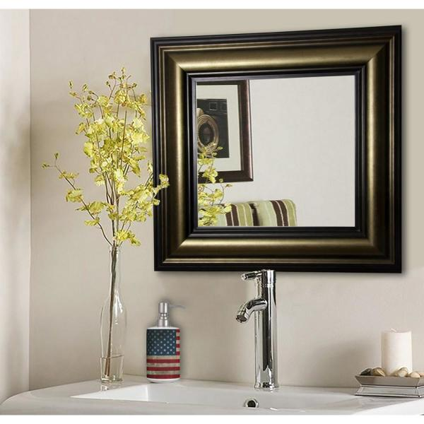 25 in. x 25 in. Stepped Antiqued Square Vanity Wall Mirror