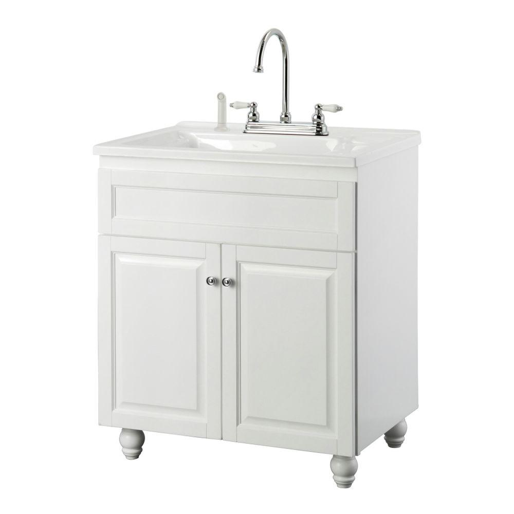 Foremost Bramlea 30 in. Laundry Vanity in White and Premium Acrylic Sink in White and Faucet Kit