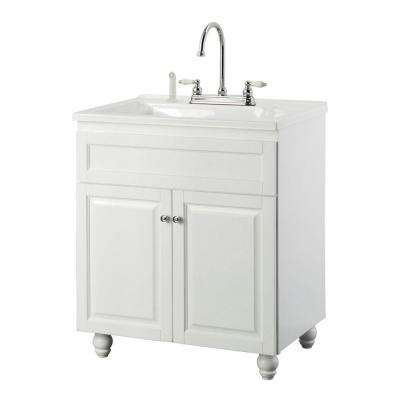 Bramlea 30 in. Laundry Vanity in White and Premium Acrylic Sink in White and Faucet Kit