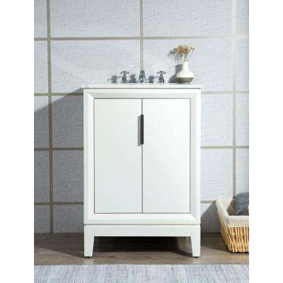 Elizabeth Collection 24 in. Bath Vanity in Pure White With Vanity Top in Carrara White Marble - Vanity Only