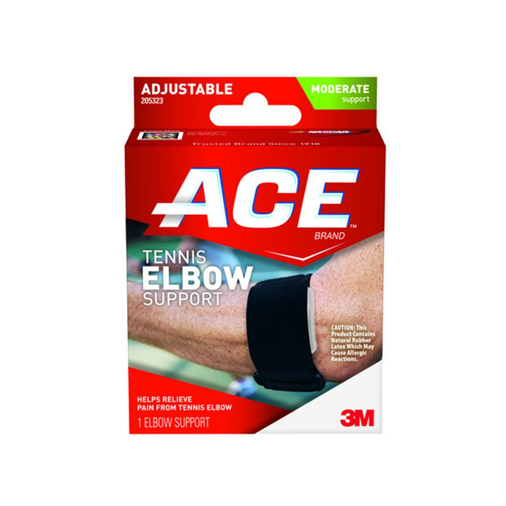 2c492f4d13 1-Size Adjustable Tennis Elbow Support Brace in Black-205323 - The Home  Depot