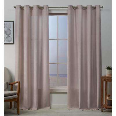 Baxter 54 in. W x 84 in. L Textured Grommet Top Curtain Panel in Blush (2 Panels)