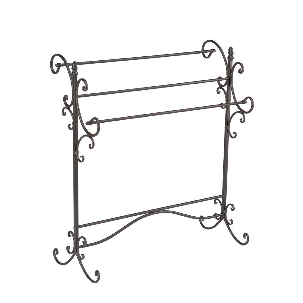 Home Decorators Collection Iron Freestanding Blanket Rack in Black