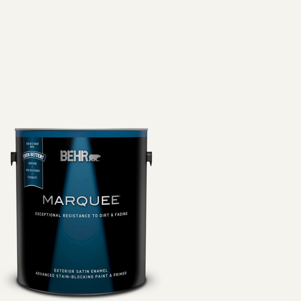 Behr Marquee 1 Gal Pwn 10 Decorator White Satin Enamel Exterior Paint And