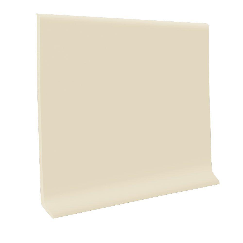 Roppe Ivory 4 in. x 48 in. x 0.080 in. Vinyl Wall Cove Ba...
