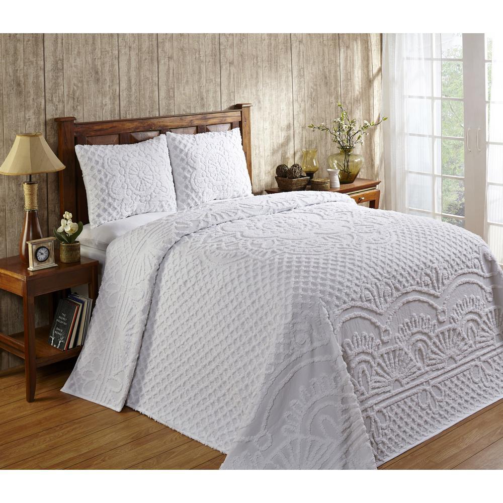 Trevor 102 in. X 110 in. White Queen Bedspread