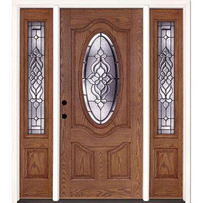 63.5 in.x81.625 in. Lakewood Patina 3/4 Oval Lt Stained Medium Oak Right-Hand Fiberglass Prehung Front Door w/ Sidelites