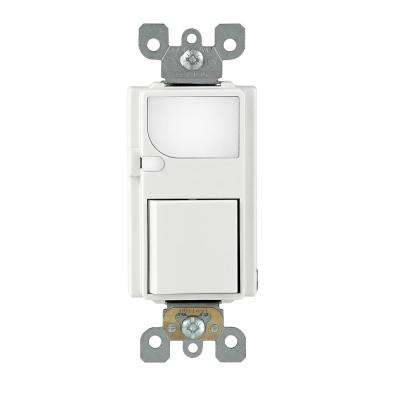 15 Amp Decora Residential Grade Combination Rocker Switch and LED Guide Light, White