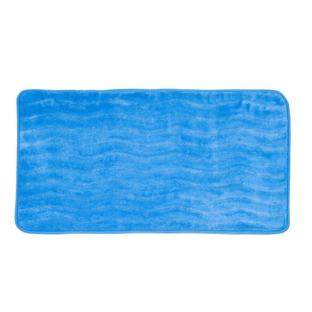 null Blue 24 in. x 60 in. Memory Foam Extra Long Bath Mat