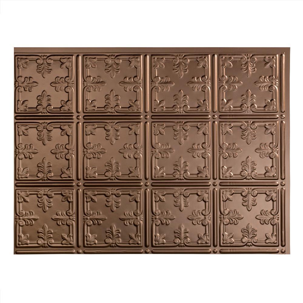 Traditional 18 in. x 24 in. Argent Bronze Vinyl Decorative Wall Tile Backsplash 18 in. sq. ft. Kit