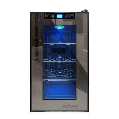 10.2 in. 8-Bottle Single-Zone Thermoelectric Mirrorred Freestanding Wine Cooler