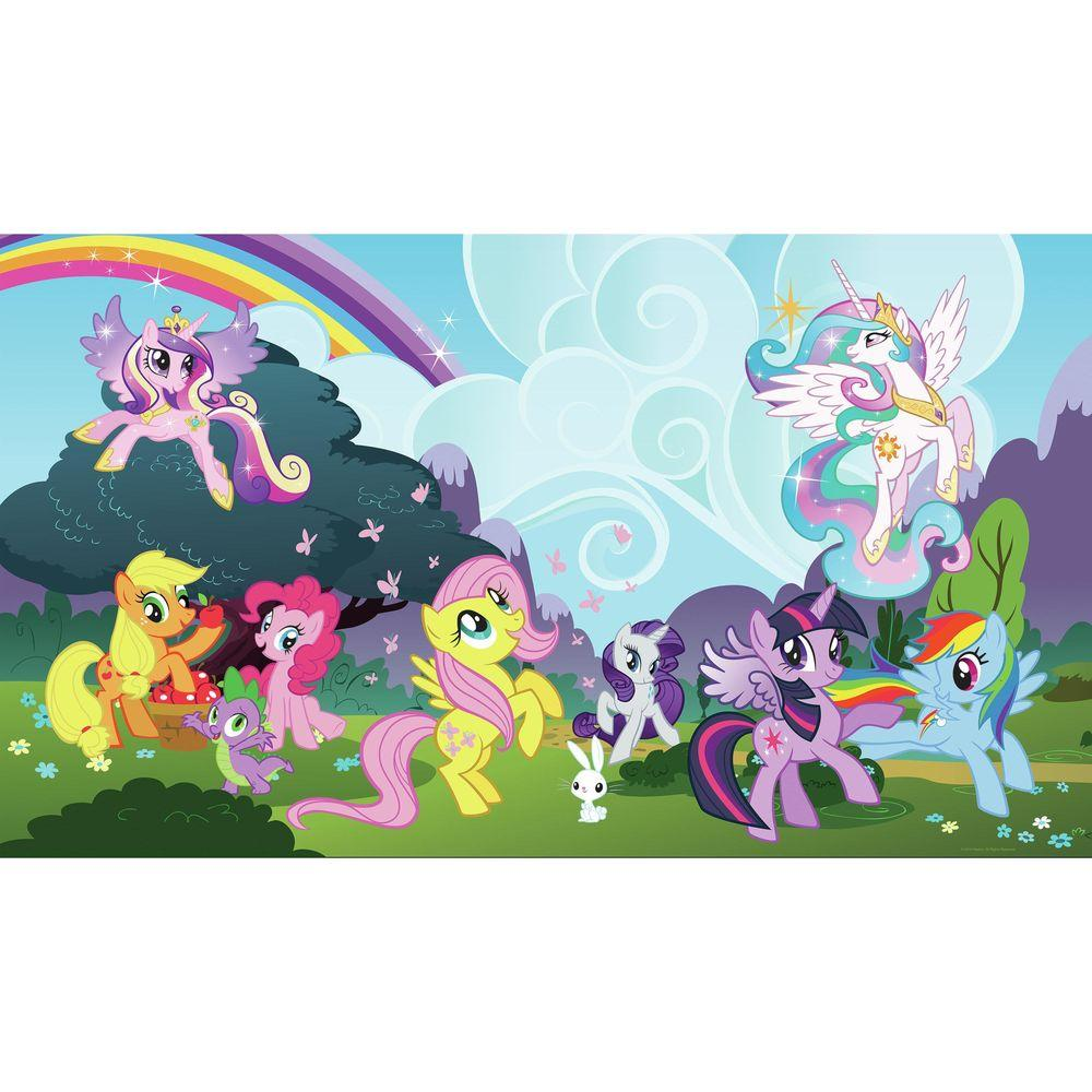 72 In X 126 In My Little Pony Ponyville Xl Chair Rail Prepasted Wall Mural 7 Panel