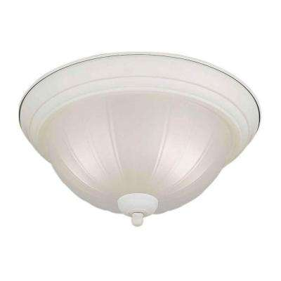 2-Light White Flushmount with Fluted Satin Etched Glass