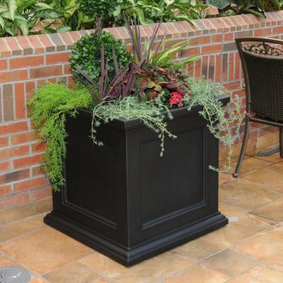 Self-Watering Fairfield 28 in. Black Plastic Square Planter