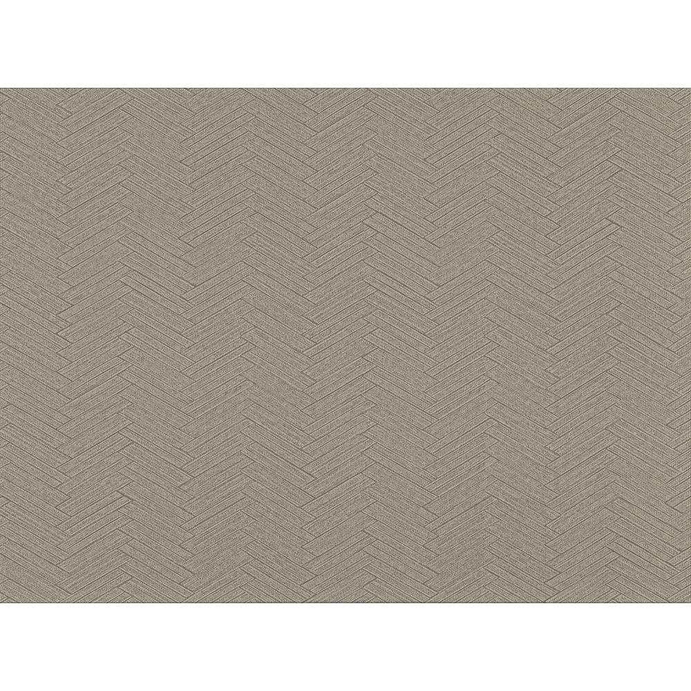 8 in. x 10 in. Karma Brown Herringhone Weave Wallpaper Sample