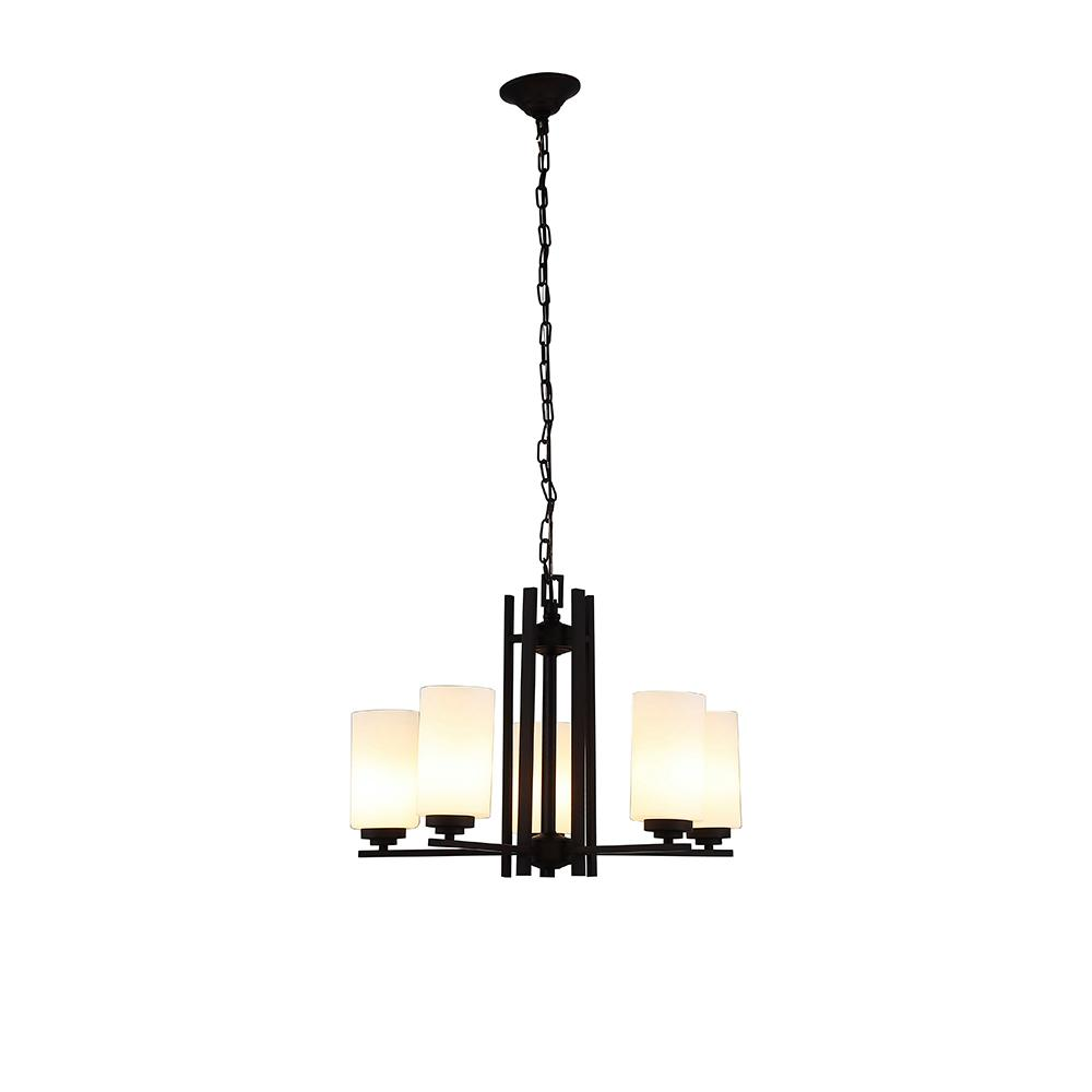 Ove Decors Joseph 5 Light Bronze Chandelier With Translucent Opal Gl Shade